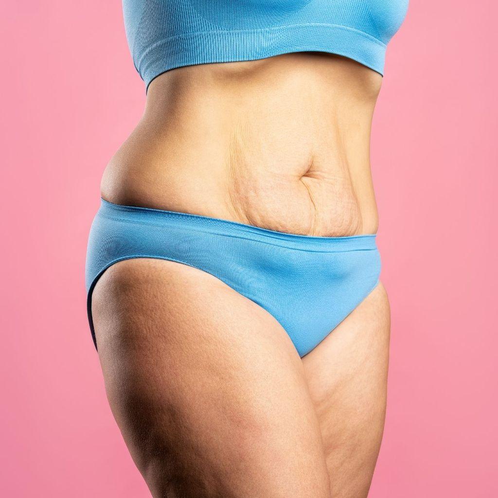 Woman in blue underwear